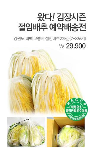 왔다 ! 김장시즌 절임배추 예약배송전 강원도태백고랭지 절임배추22kg(7-8포기) 29,900원
